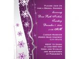 "Purple and Silver Bridal Shower Invitations Purple Silver Grey Snowflake Wedding Bridal Shower 5"" X 7"