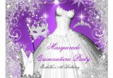 Purple and Silver Quinceanera Invitations Masquerade Quinceanera Purple Silver Snowflakes Invitation