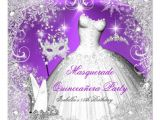Purple and Silver Quinceanera Invitations Masquerade Quinceanera Purple Silver Snowflakes Invitation