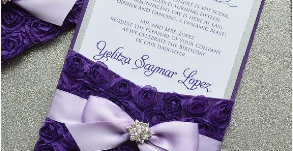 Purple and Silver Quinceanera Invitations Purple Rosette Quince Invitation Purple and Silver Swarovski