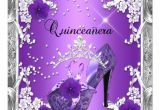 Purple and Silver Quinceanera Invitations Quinceanera 15 Birthday Party Purple Silver Invitation