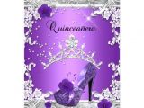 Purple and Silver Quinceanera Invitations Quinceanera 15th Birthday Party Purple Silver Custom
