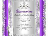 Purple and Silver Quinceanera Invitations Quinceanera 15th Birthday Purple Silver Shoes Invitation