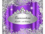 Purple and Silver Quinceanera Invitations Quinceanera Party Purple Silver Tiara 5 25 Quot Square