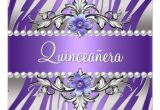Purple and Silver Quinceanera Invitations Quinceanera Zebra Purple Pearl Silver Personalized