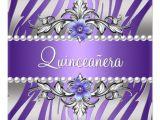 Purple and Silver Quinceanera Invitations Quinceanera Zebra Purple Pearl Silver Personalized