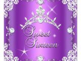 Purple and Silver Quinceanera Invitations Sweet Sixteen Sweet 16 Purple Silver Diamond Tiara