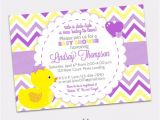 Purple and Yellow Baby Shower Invitations Girl Rubber Ducky Baby Shower Invitation Girl Bow