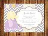 Purple and Yellow Baby Shower Invitations Purple and Yellow Elephant Baby Shower Invitation Digital