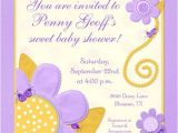 Purple and Yellow Baby Shower Invitations Yellow Ladybugs Purple Flowers Shower Card Cute Summery