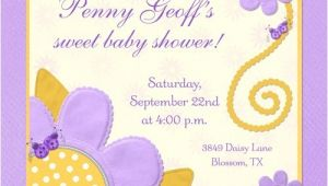 Purple and Yellow Baby Shower Invitations Yellow Ladybugs Purple Flowers Shower Card Cute Summery