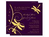 Purple and Yellow Wedding Invitations Yellow and Purple Dragonfly Wedding Invitation Zazzle