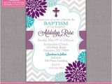 Purple Baptism Invitations Baptism Invitation Floral Purple Turquoise Girl by