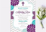 Purple Baptism Invitations Baptism Invitation Floral Purple Turquoise Girl First