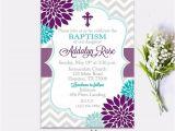 Purple Baptism Invitations Baptism Invitation Floral Purple Turquoise Girl First