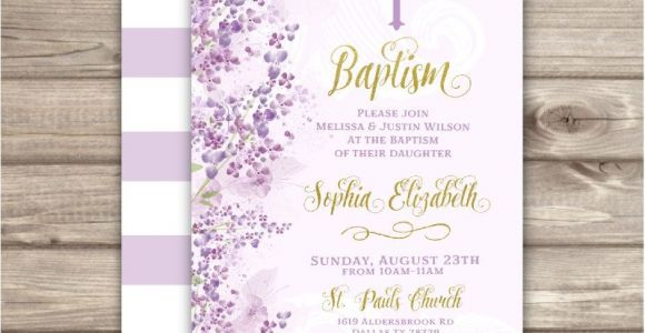 Purple Baptism Invitations Baptism Invitations Flowers Cross Purple Gold Printed or