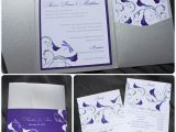 Purple Calla Lily Wedding Invitations Dragonfly Calla Lily Swirl Belly Band Pocketfolds