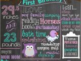 Purple Owl First Birthday Invitations First Birthday Colored Chalkboard Poster Invitation