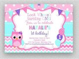 Purple Owl First Birthday Invitations Pink Purple Turquoise Owl Invitation Girls Owl Birthday