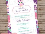 Purple Paisley Baby Shower Invitations Purple Paisley Owl Baby Shower Invitation
