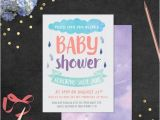 Purple Rain Party Invitations Baby Shower Invitation with Envelope Liners Rain Shower