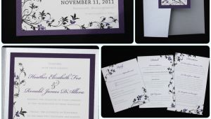 Purple Silver and Black Wedding Invitations Dark Purple Black Silver Floral Pocketfold Wedding