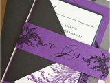 Purple Silver and Black Wedding Invitations Limeade Wedding Invitation Suite with Belly Band Purple