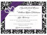 Purple Silver and Black Wedding Invitations Wedding Invitation Purple Black White Damask Joined