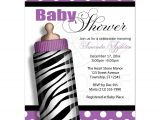 Purple Zebra Print Baby Shower Invitations Baby Shower Invitations Zebra Print Baby Bottle Purple