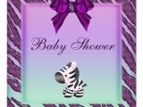 Purple Zebra Print Baby Shower Invitations Cute Zebra & Animal Print Purple Baby Shower Invitation