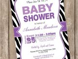 Purple Zebra Print Baby Shower Invitations Girl Baby Shower Invitation Purple and Black Zebra Baby Shower