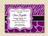 Purple Zebra Print Baby Shower Invitations Items Similar to Wild Baby Shower Invitation Purple Zebra