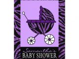 Purple Zebra Print Baby Shower Invitations Purple Zebra Baby Shower