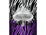 Purple Zebra Print Baby Shower Invitations Purple Zebra Print & Tiara Baby Shower Invite