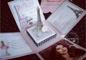 Quinceanera Box Invitations Paris themed Exploding Box Invitations with Eiffel tower