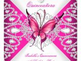 Quinceanera Invitations butterfly theme Pretty Pink butterfly Tiara Quinceanera 15th Party Custom