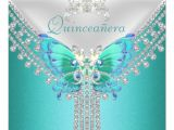 Quinceanera Invitations butterfly theme Quinceanera Teal Blue White butterfly Diamond 5 25 Quot Square
