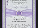 Quinceanera Invitations Designs Lilac and Silver Glitter Quinceanera or Wedding Invitation