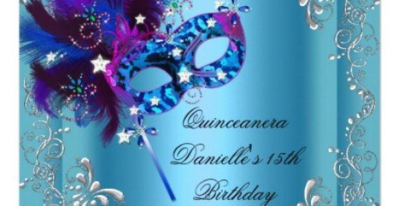 Quinceanera Invitations Masquerade theme Quinceanera 15th Birthday Party Masquerade Blue 5 25×5 25