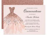 Quinceanera Picture Invitations Rose Gold Sparkle Dress Quinceanera Invitation Zazzle Com