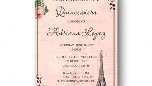 Quinceanera Poems for Invitations Paris Quinceanera Invitation Quinceanera Invitation