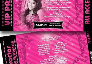 Quinceanera Ticket Invitations All Access Vip Pass Quinceanera Invitations