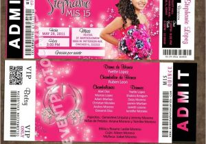 Quinceanera Ticket Invitations Concert Ticket Quinceanera Concert Ticket Invitations