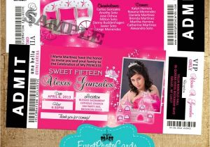 Quinceanera Ticket Invitations Quince Ticket Invites Sweet 16 Pink Photo