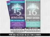 Quinceanera Ticket Invitations Quinceanera or Sweet 16 Ticket Invitations Any Color Scheme