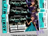 Quinceanera Ticket Invitations Teal and Black Quinceanera Invite with Pretty Doll