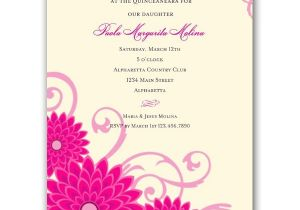 Quinceaneras Invitations Cards Dahlias Pink Quinceanera Invitations Paperstyle