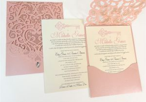 Quinceaneras Invitations Cards Rhinestone Diamond Laser Cut Quinceanera Invitations