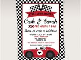 Race Car Baby Shower Invitations Vintage Red Racing Car Baby Shower Party Printable Invitation