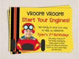 Race Car themed Birthday Invitations Adorable Little Racer Race Car themed Birthday Party